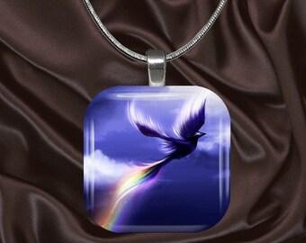 Rainbow Bird Glass Tile Pendant with your choice of chain included(Rainbow6.5)