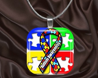 Autism Awareness Glass Tile Pendant with your choice of chain included(AutAware2.1)