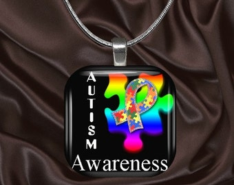 Autism Awareness Glass Tile Pendant with choice of chain(AutAware3.2)