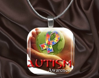 Autism Awareness Glass Tile Pendant with chain included(autaware4.6)