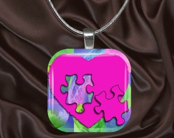 Autism Awareness Glass Tile Pendant with chain (autaware5.3)