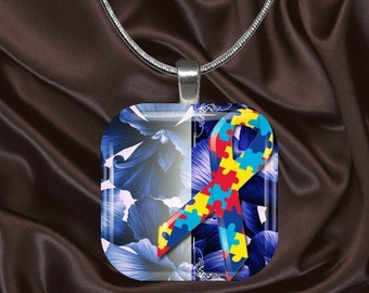 Autism Awareness Glass Tile Pendant with chain(autaware5.6)