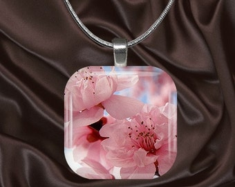 Cherry Blossom Glass Tile Pendant with chain(cherry1.3)