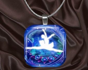 Ballerina Glass Tile Pendant(fairy7.2)