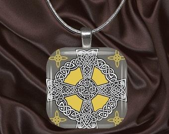 Celtic Glass Tile Pendant with chain(celtic3.2)