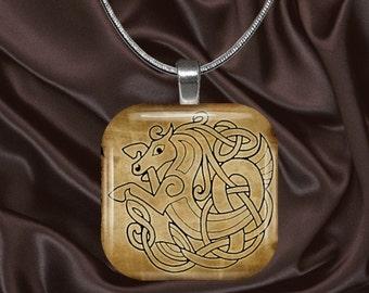 Celtic Glass Tile Pendant with chain(celtic3.3)