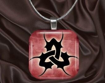 Celtic Glass tile pendant with chain(celtic5.5)