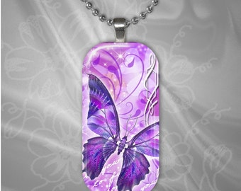 Butterfly Rectangular Glass tile pendant with chain(buR1.1)