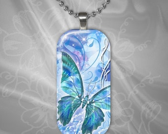 Butterfly Rectangular Glass Tile Pendant with chain(buR2.6)