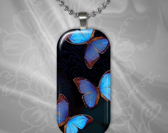 Butterfly Rectangular Glass Tile Pendant with chain(buR3.2)