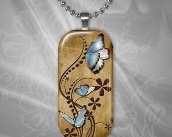 Butterfly Rectangular Glass Tile Pendant with chain(buR3.5)