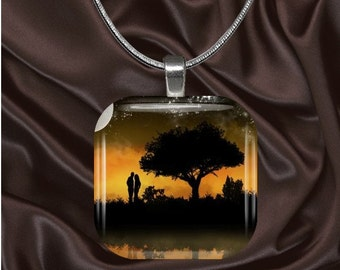 Love Glass Tile Pendant with chain(L1.1)