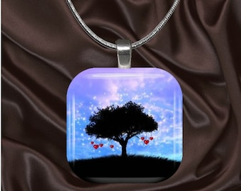 Love Glass Tile Pendant with chain(L1.3)