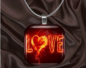 Fire Love Glass Tile Pendant with chain(L2.4)