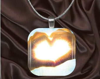 Heart Hands Glass Tile Pendant with chain(L2.6)