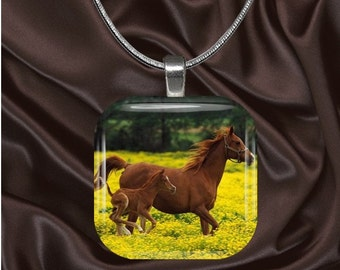 Mare and Foal Glass Tile Pendant with chain(CuAn2.4)