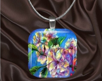 Cherry Blossom Glass Tile Pendant with chain(CuOr1.2)