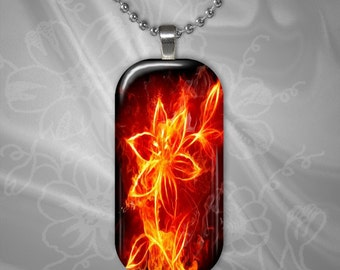 Fire Flower Glass Tile pendant with chain(CuFFR11.4)