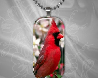 Cardinal Glass Tile Pendant with chain(CuAnR2.6)