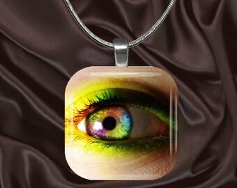 Rainbow Eye Glass tile Pendant with chain(eye2.4)