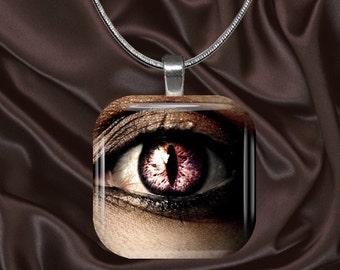 Pretty Eye Glass tile Pendant with chain(eye3.4)