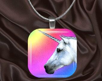 Rainbow Unicorn Glass tile Pendant with chain(CusFF17.4)