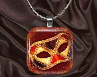 Venetian Mask Glass tile Pendant with chain(mask1.3)