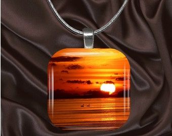 Light of Day Glass tile Pendant with chain(light8.2)
