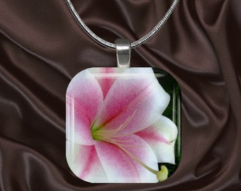 Lily Glass Tile Pendant with chain(CusFl1.3)