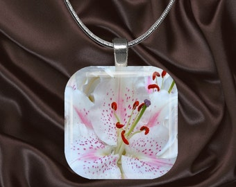 Lily Glass Tile Pendant with chain(CusFl1.4)