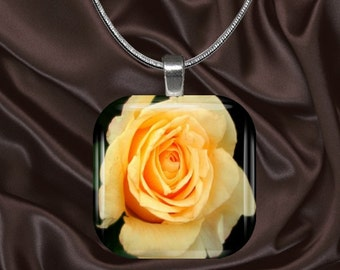 Yellow Rose Glass Tile Pendant with chain(CusFl2.4)