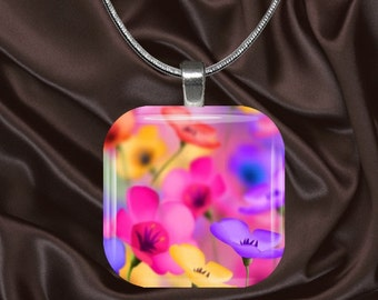 Poppy Glass Tile Pendant with chain(CusFl6.6)