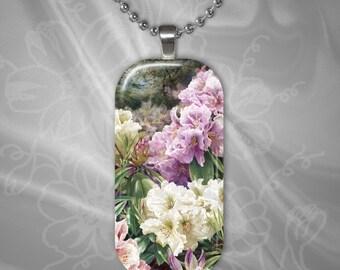 Secret Garden Glass Tile Pendant with chain(CuFlR4.1)