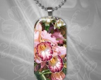Floral Glass tile Pendant with chain(CuFlR4.4)