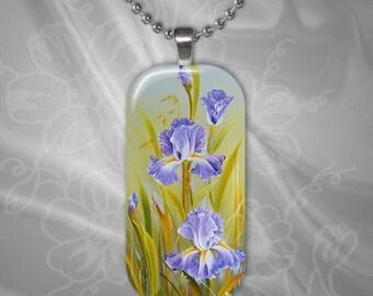 Purple Iris Glass Tile Pendant with chain(CuFlR5.1)