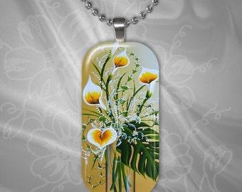 Calla Lily Glass Tile Pendant with chain(CuFlR5.3)