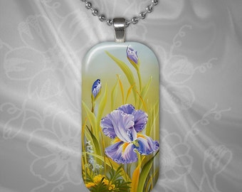 Iris Glass Tile Pendant with chain(CuFlR5.6)