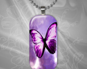 Purple Butterfly Glass tile Pendant with chain(CuBuR4.1)