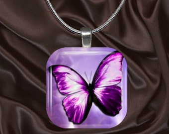 Magenta Butterfly Glass Tile Pendant with chain(CuBu6.1)