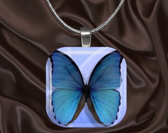 Blue Butterfly Glass Tile Pendant with chain(CuBu2.6)