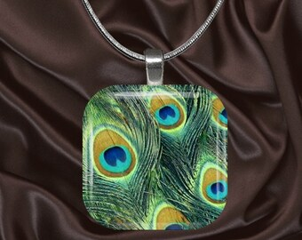 Peacock Feathers Glass Tile Pendant with chain(CuAn3.7)