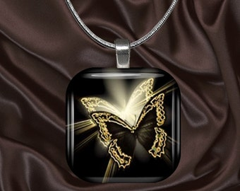 Elegant Black and Gold Butterfly Glass Tile Pendant with chain(CuBu4.4)