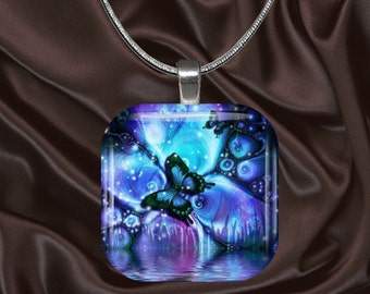 Butterfly Glass Tile Pendant with chain(CuBu5.4)