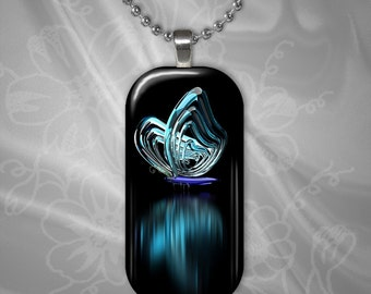 Butterfly Reflections Glass Tile Pendant with chain(CuBuR1.6)