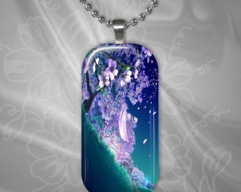 Cherry Blossom Glass Tile Pendant with chain(CuOr1X21.7)