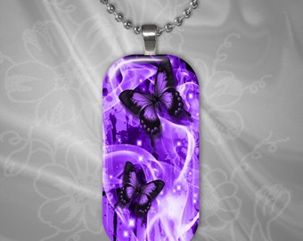 Purple Butterfly Glass tile Pendant with chain(CuBuR3.1)