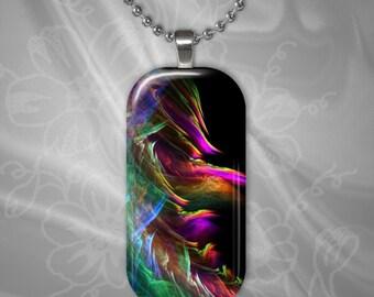 Rainbow Flames glass Tile Pendant with chain(CuRaR2.1)