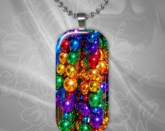 Rainbow Mardi Gras Beads glass Tile Pendant with chain(CuRaR2.6)