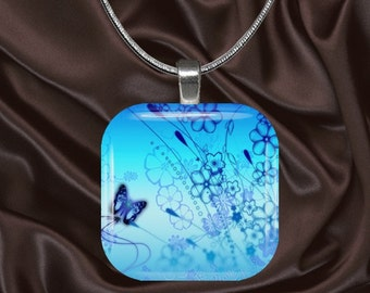 Blue Butterfly on Aqua Glass Tile Pendant with chain(CuBu1.3)