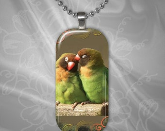 Love Birds Glass Tile Pendant with chain(CuAnR2.5)